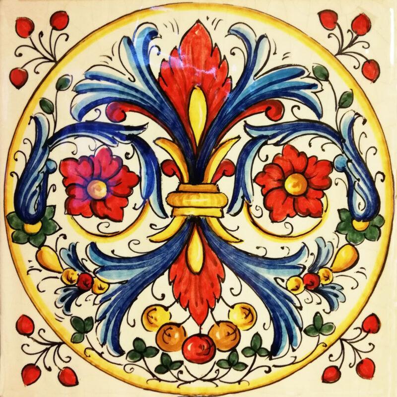 Mattonella decorata a mano, decoro personalizzabile
