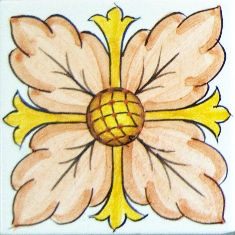 mattonella decorata a mano in stile Caltagirone
