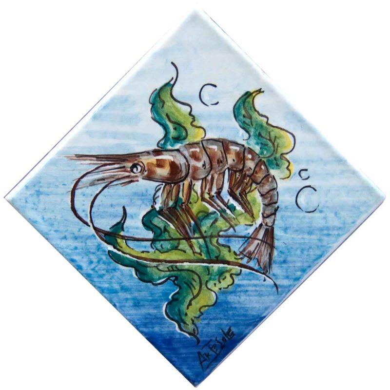 mattonella con decoro aragosta dipinta a mano