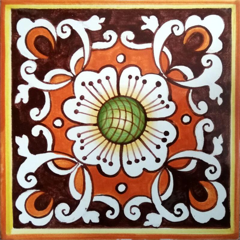 Mattonella con decoro fiore in stile Siciliano