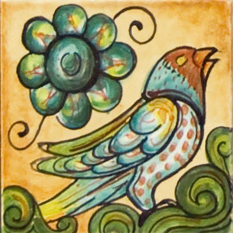 mattonella in ceramica decorata a mano con decoro canarino