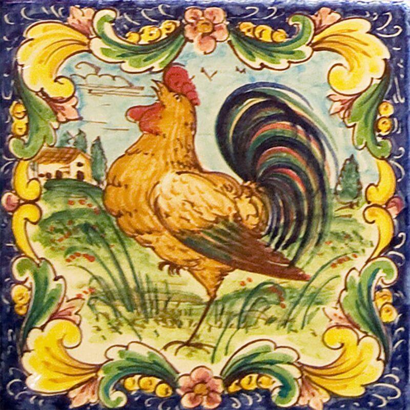 mattonella in ceramica decorata a mano con decoro gallo di Caltagirone