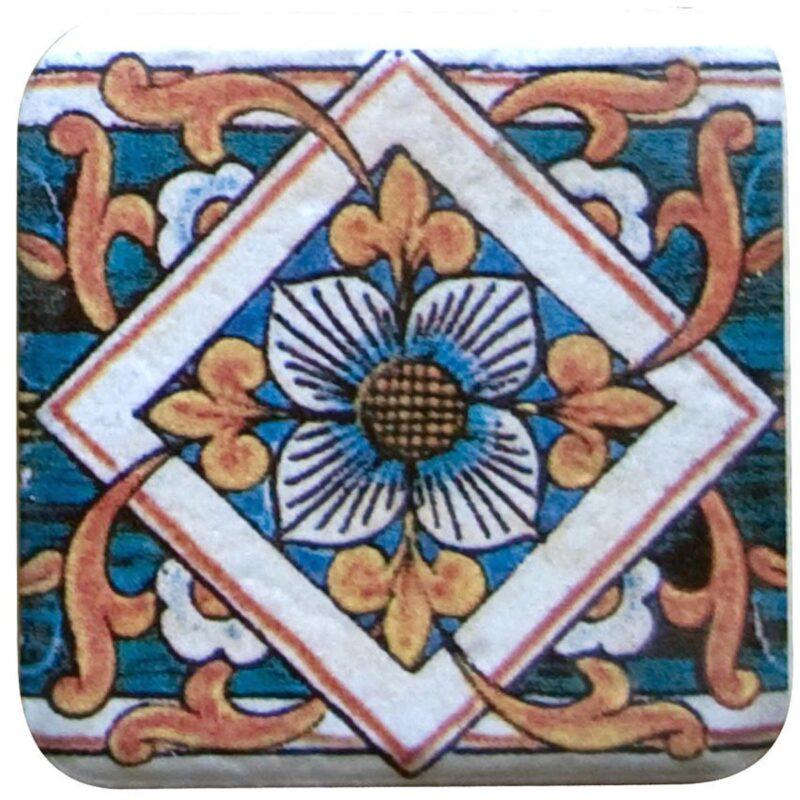 mattonella in ceramica dipinta a mano