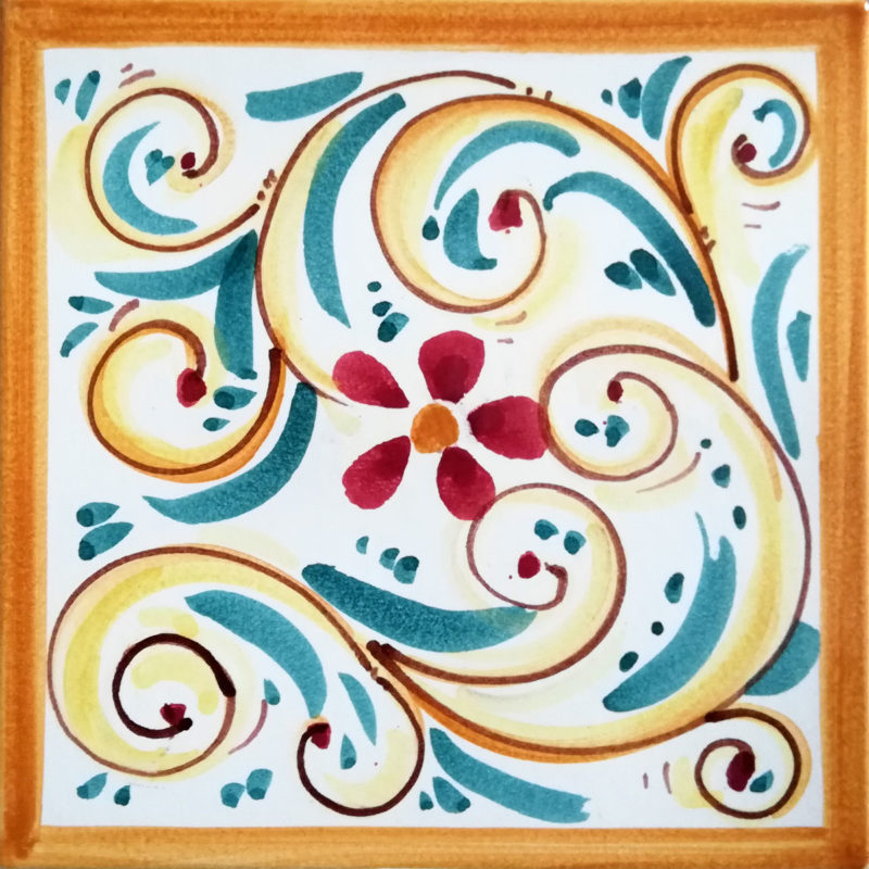Mattonella in cotto ceramizzato dipinto a mano