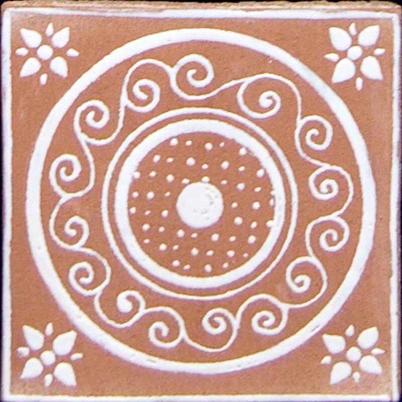 mattonella in cotto decorata a mano