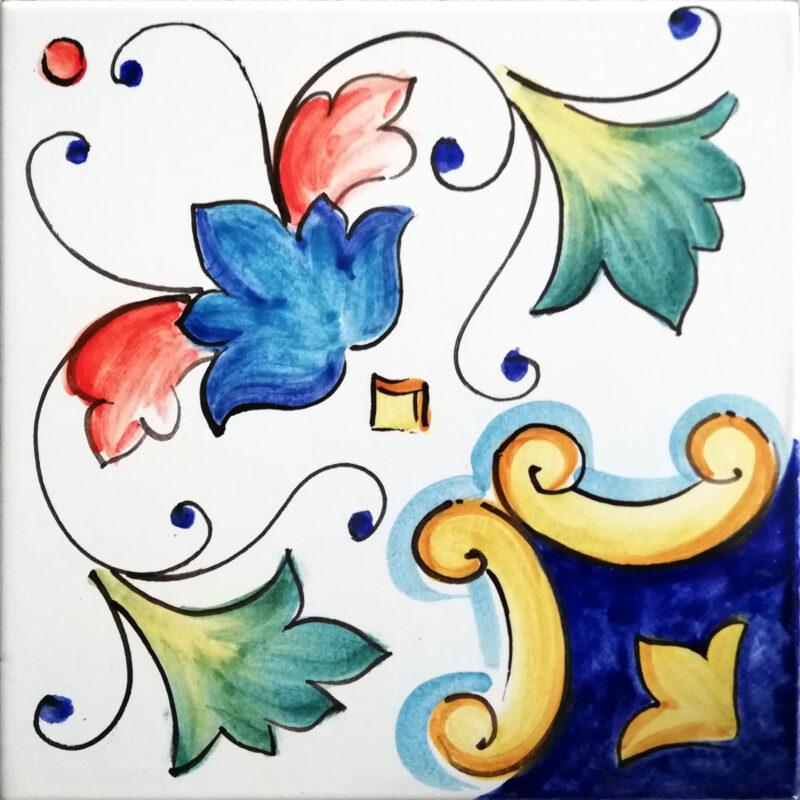mattonella lucida in ceramica o pietra lavica dipinta a mano