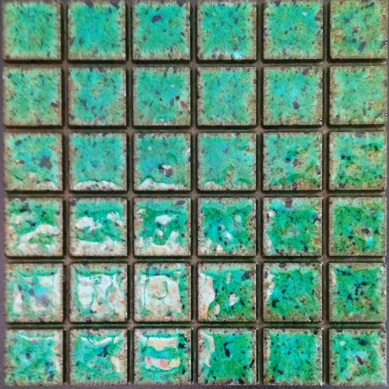 Mattonella verde acqua marina per rivestimenti in pietra lavica monoblocco pretagliata con predisposizione fuga