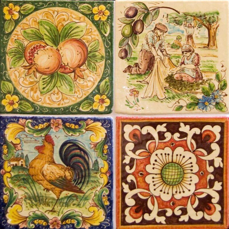 mattonelle in ceramica decorate a mano