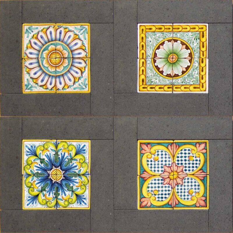 mattonelle in pietra lavica dell'Etna decorate a mano