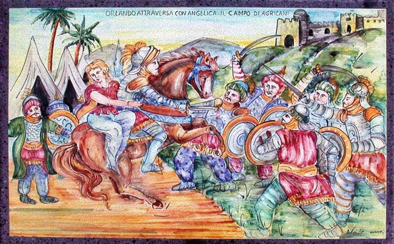 Orlando attraversa con Angelica il campo di Agricani