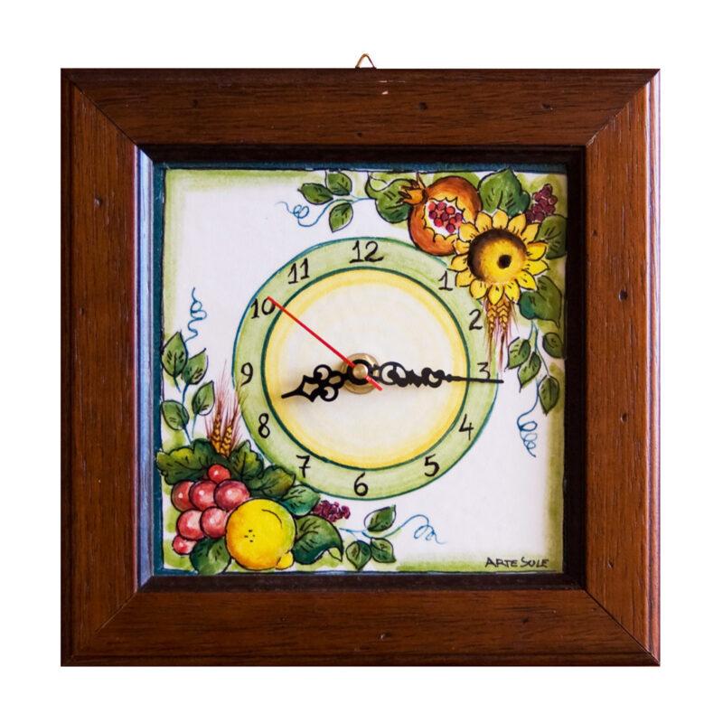 orologio da parete con decoro girasoli, melograno, uva e limoni dipinti a mano