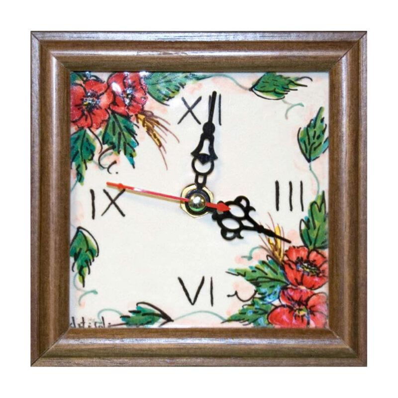 Orologio disegno su pietra lavica dipinto a mano