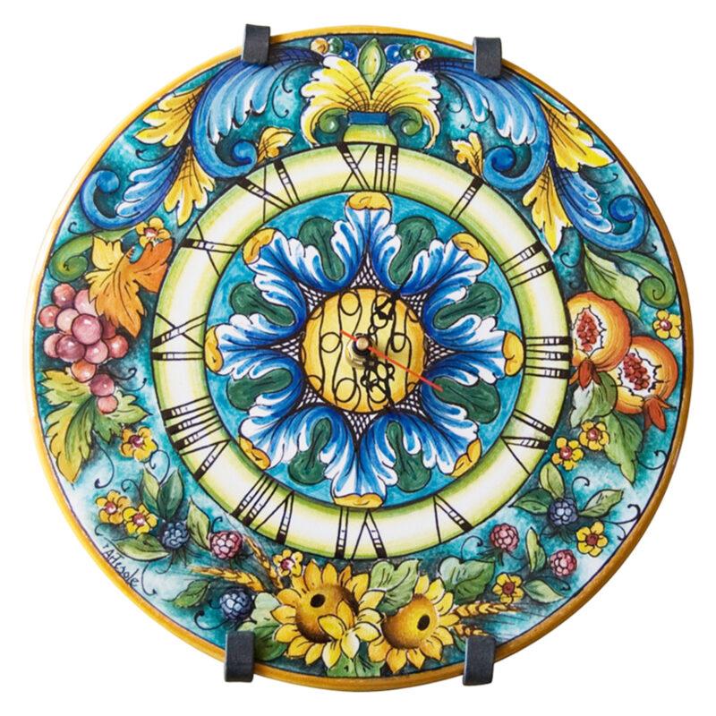 orologio in ceramica rotondo decorato a mano giarre