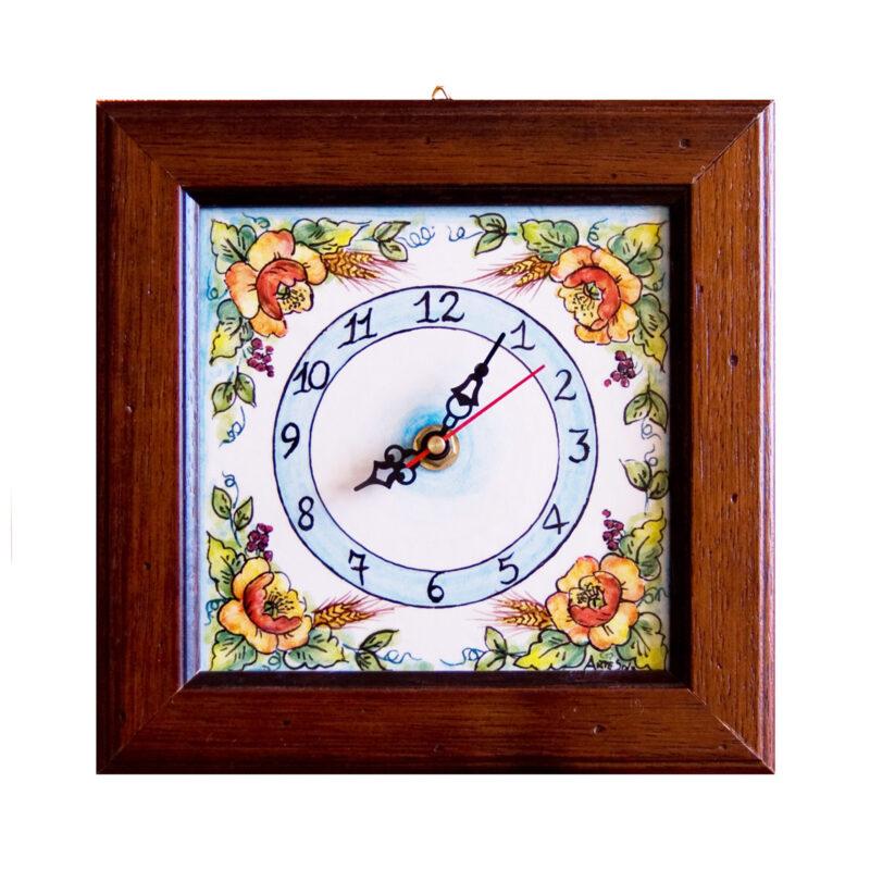 Orologio in ceramica decorato a mano in stile Caltagirone