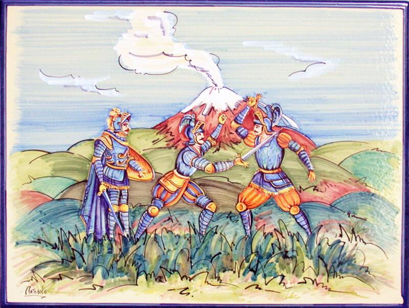 pannello decorativo dipinto a mano con decoro paladini