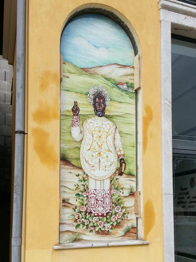 Pannello Arte Sacra in Pietra Lavica decorata a mano