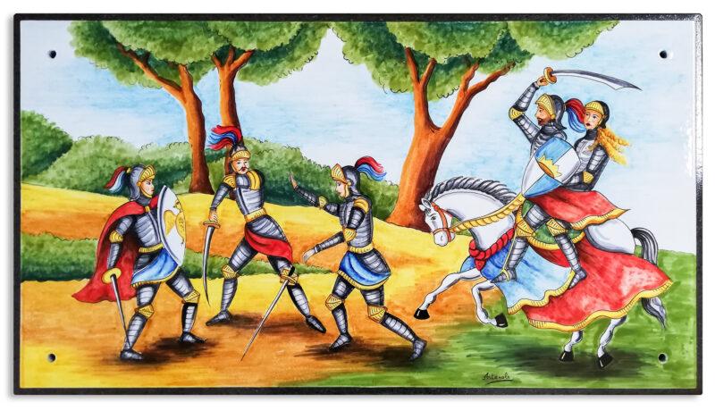 Pannello decorativo con Pupi Siciliani dipinti a mano