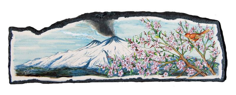 Pannello realizzato in pietra lavica ceramizzata con decoro Etna e Fiori di Pesco