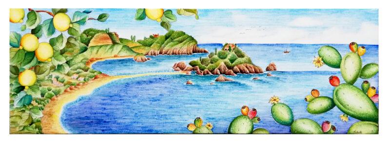 Pannello decorativo in pietra lavica con Isola Bella Taormina decorata a mano