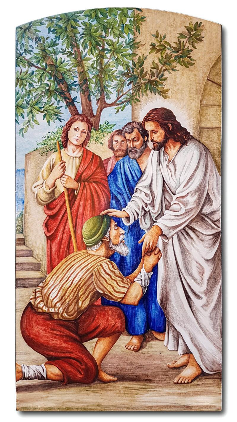 Pannello in pietra lavica arte sacra decorato a mano