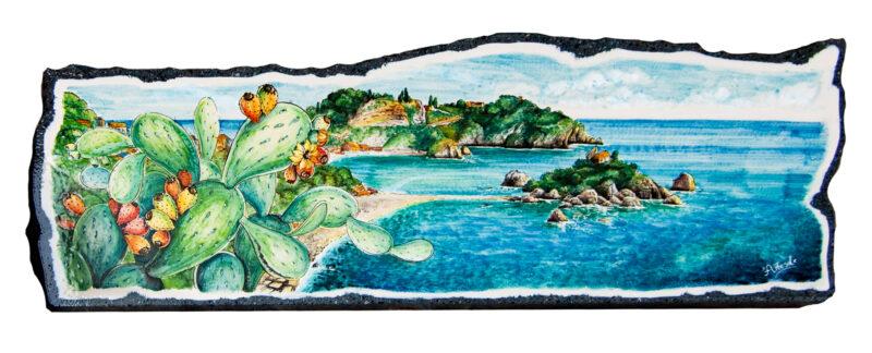 Pannello in pietra lavica con decoro Isola Bella Taormina, vista mare con fichi d'india