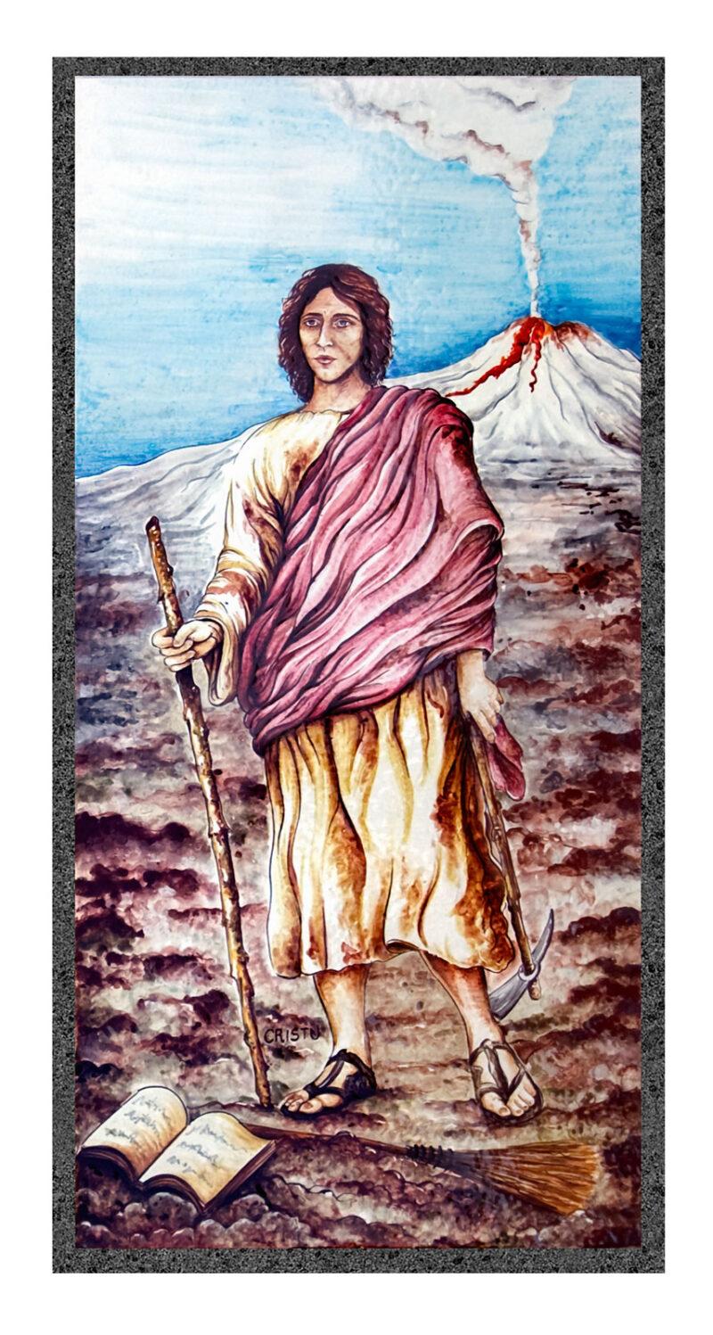 Pannello Targa religiosa in pietra lavica decorato a mano.