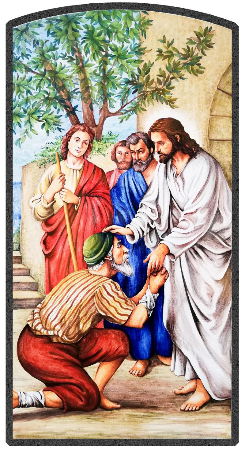 Pannello Signore in pietra lavica decorato a mano