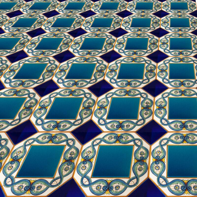 pavimento in Pietra Lavica decorato a mano
