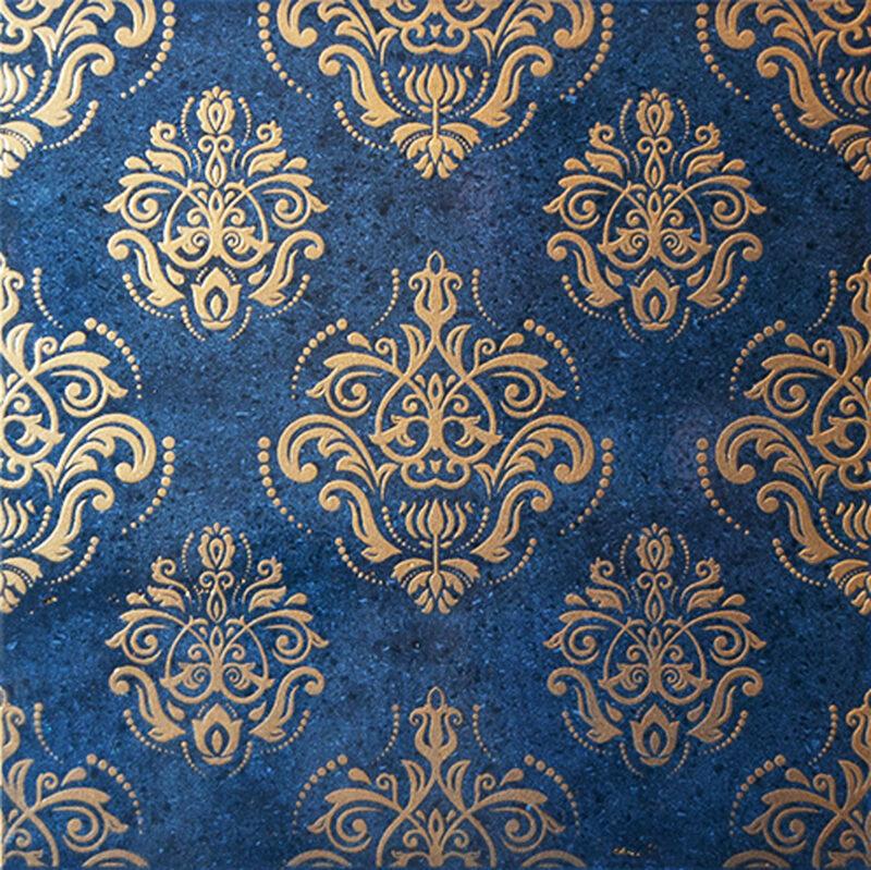 Piastrella con decoro damascato color oro fondo blu trasparente