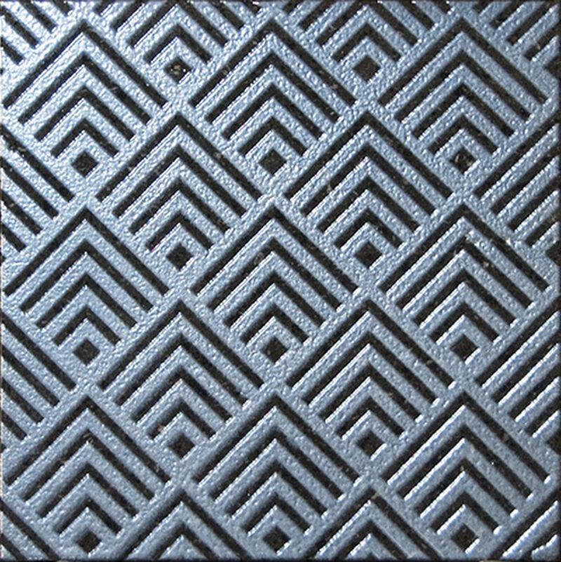 Piastrella con decoro geometrico color argento fondo Trasparente Incolore