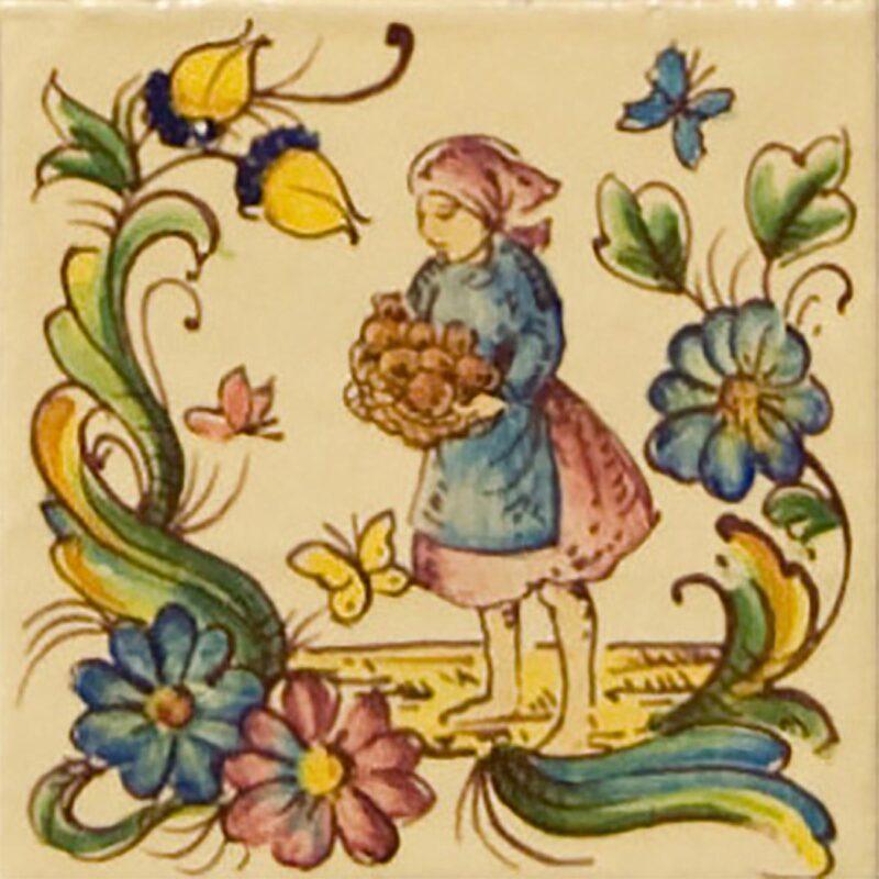 piastrella in ceramica decorata a mano