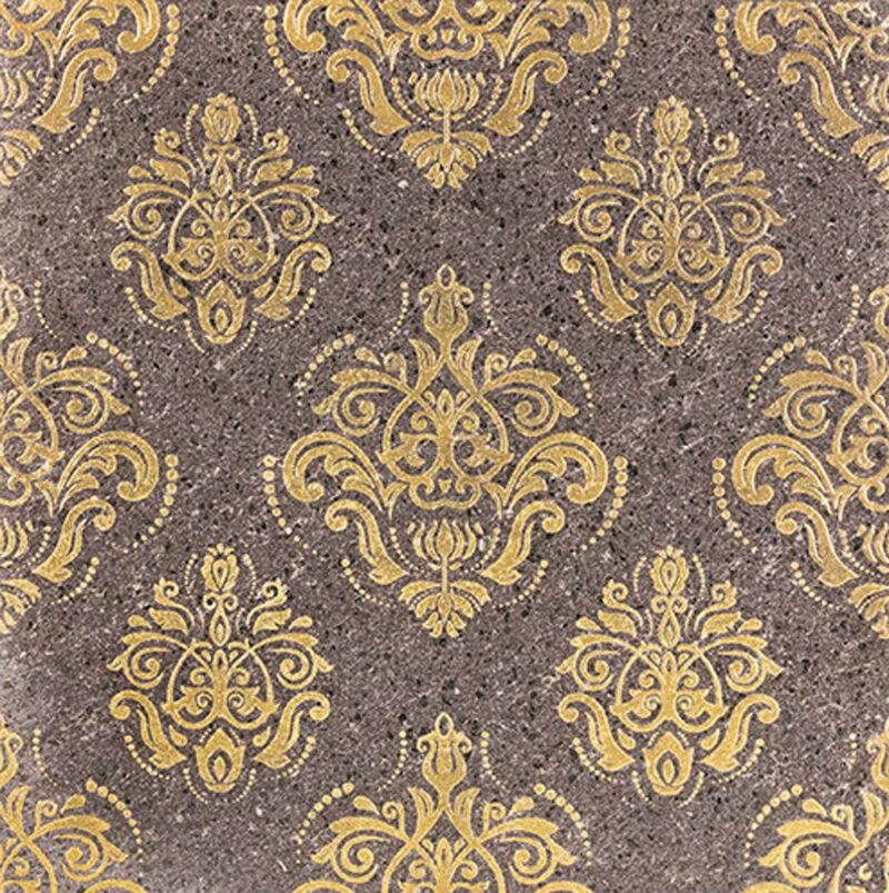 Piastrella in pietra lavica colore oro damascato