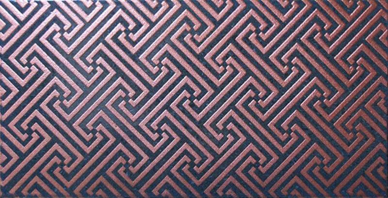 Piastrella per rivcestimenti misura 20x40 decoro labirinto color rame rosso