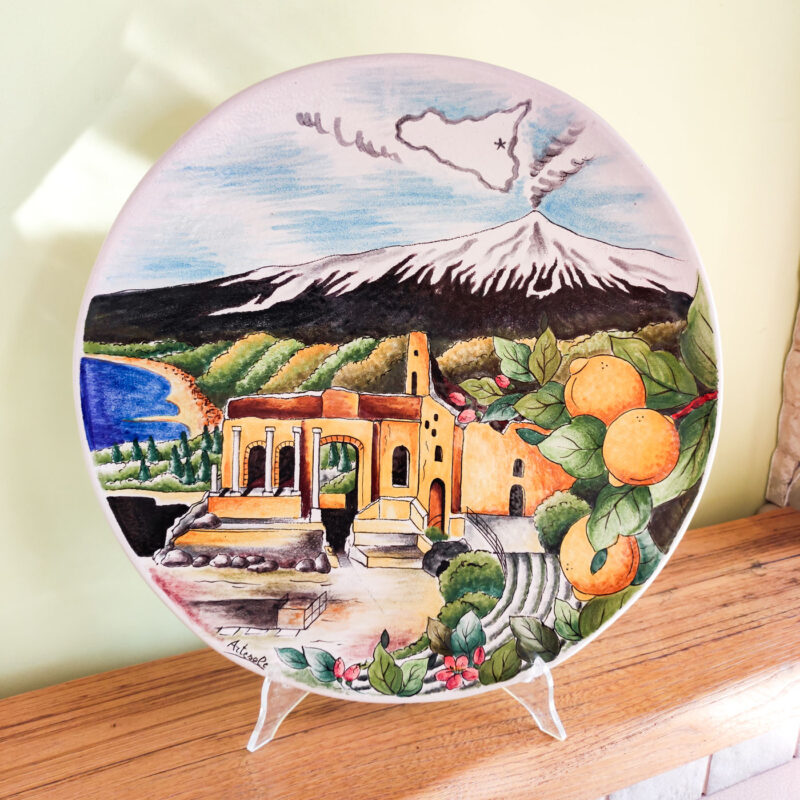 Piatto in ceramica con decoro Taormina