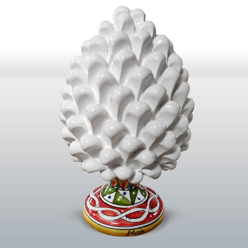 Pigna in Ceramica bianca con base decorata altezza 21