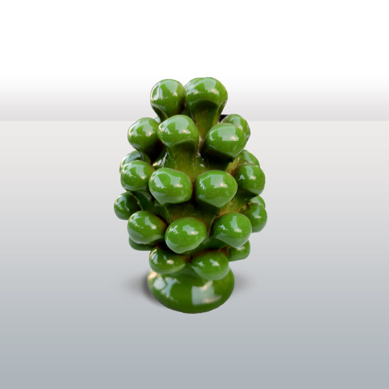 Pigna in ceramica monocolore verde altezza 12 cm