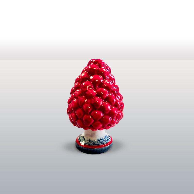 Pigna in ceramica rossa con base decorata altezza 9