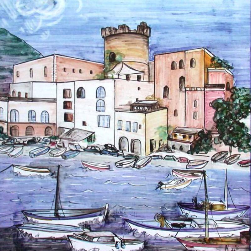 Posillipo Napoli dipinto a mano su Pietra Lavica
