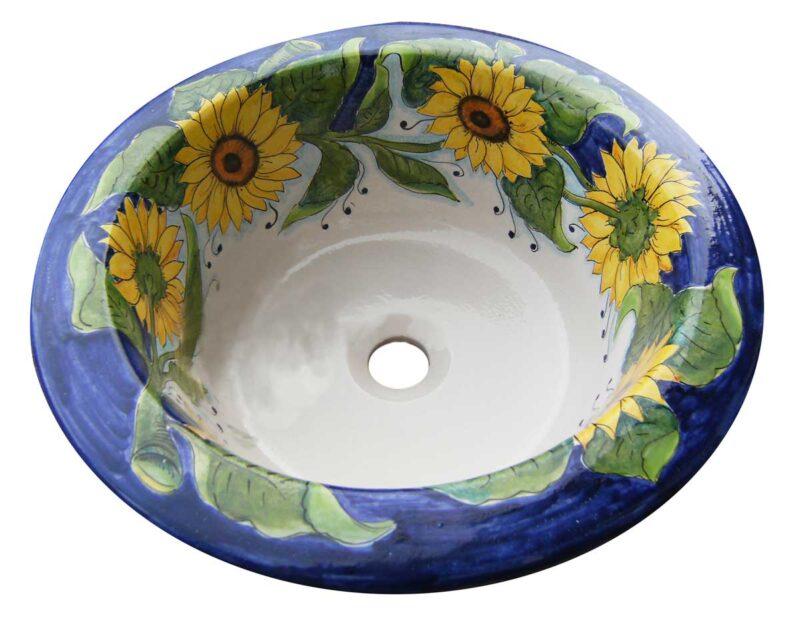 pozzetto in ceramica dipinto a mano in stile Caltagirone con decoro girasoli