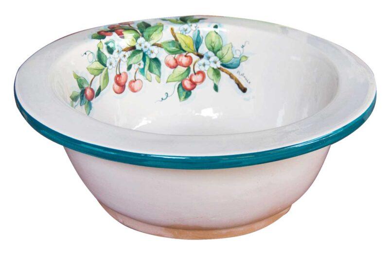 pozzetto rotondo in ceramica decorato a mano in stile Caltagirone