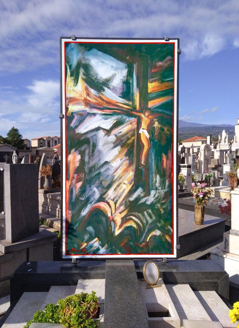 quadro in pietra lavica per cimitero