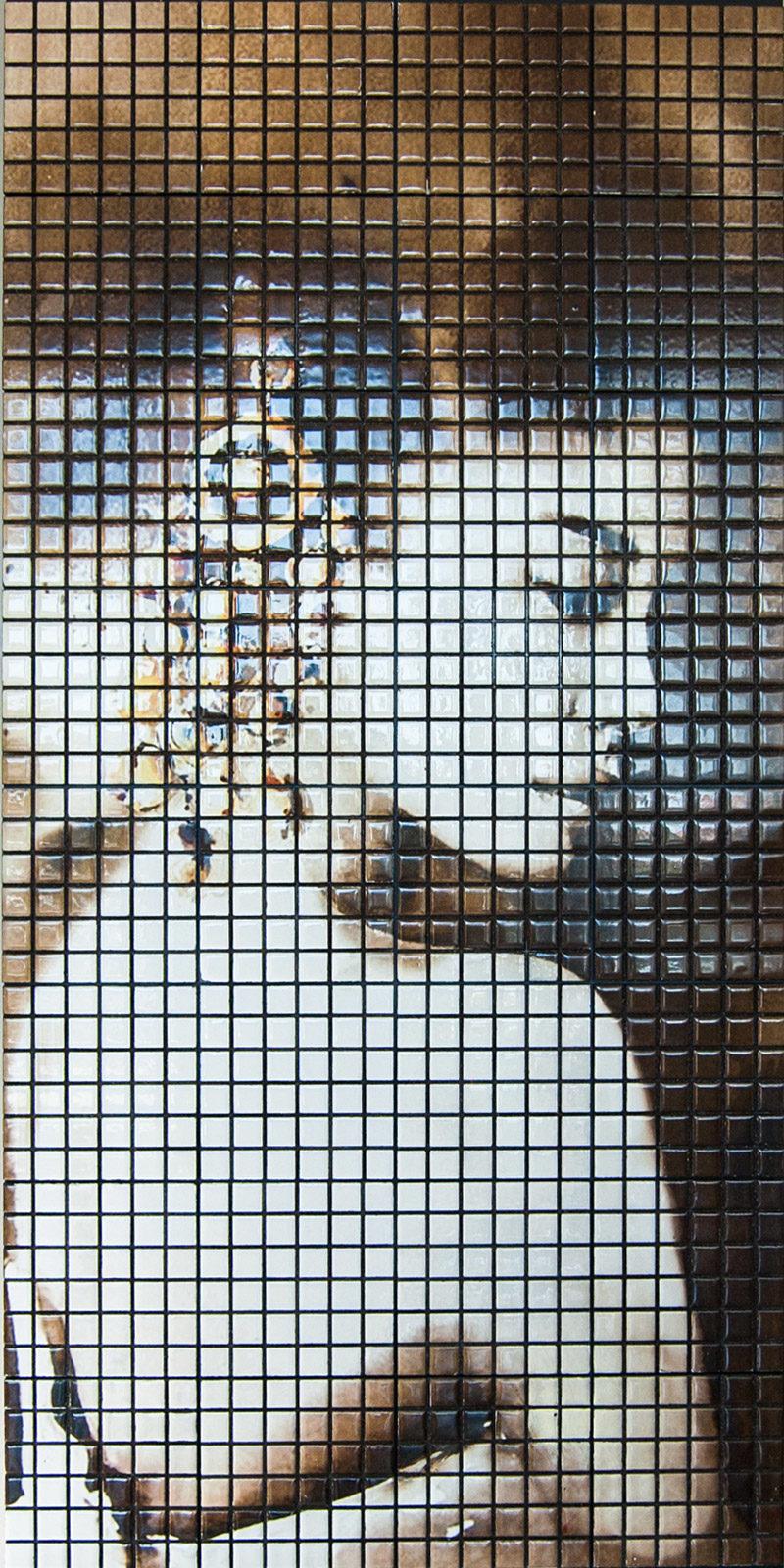 Pannello mosaico in pietra lavica per rivestimento con immagine personalizzata