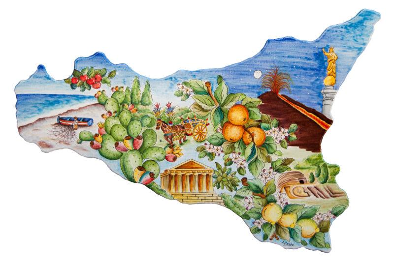 Sicilia realizzata in pietra lavica dell'Etna decorata a mano
