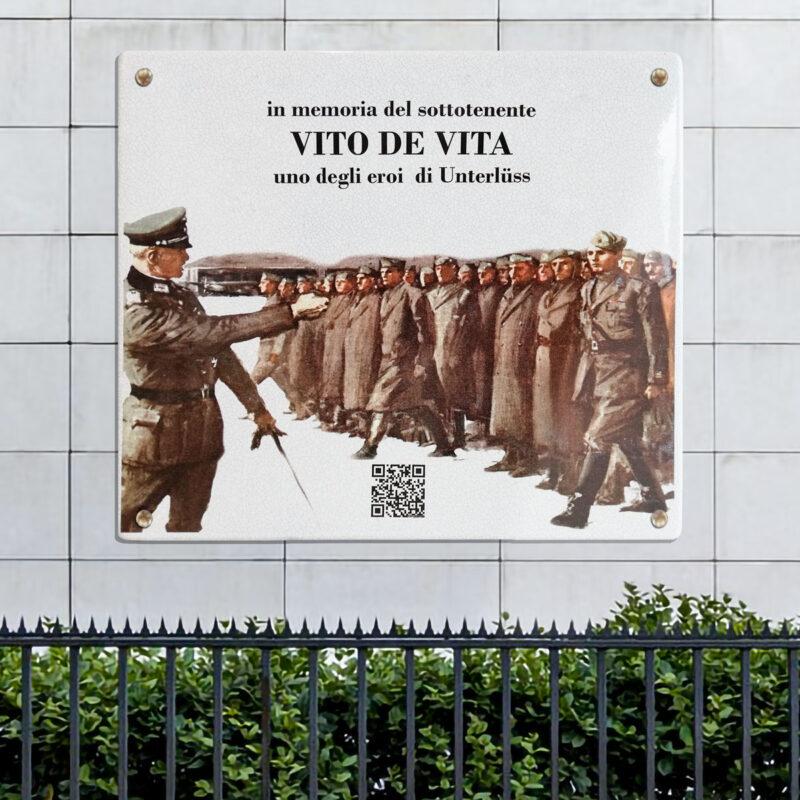 Targa Commemorativa in pietra lavica ceramizzata - VITO DE VITA