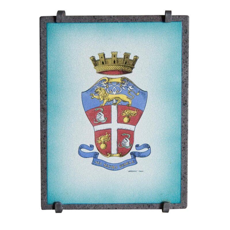 Targa in pietra lavica con stemma Carabinieri