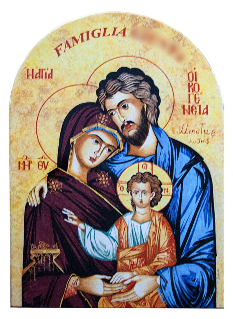 Targa in pietra lavica Sacra Famiglia decorata a mano