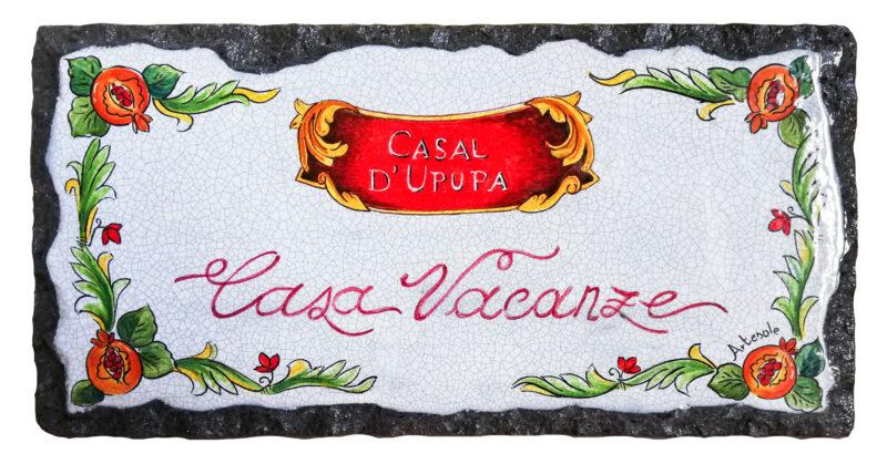 Targhetta in pietra lavica decorata a mano Casa Vacanze Personalizzabile