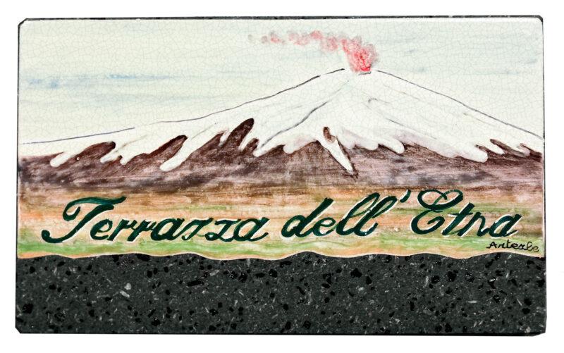 Pannello decorativo in pietra lavica con decoro Terrazza dell'Etna