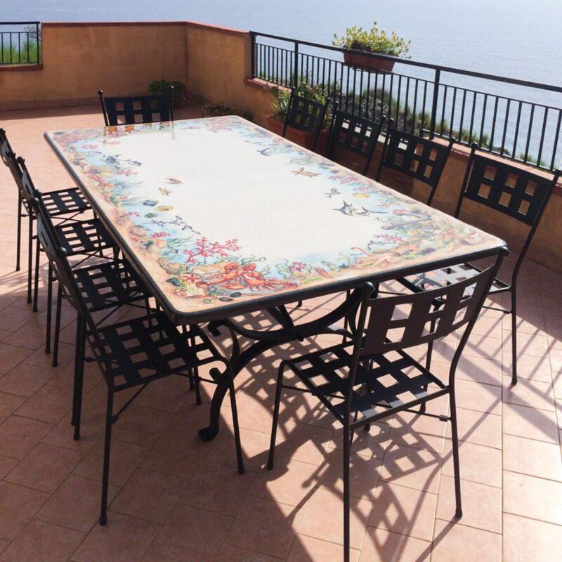 Tavolo extra large con decoro marino, grandi dimensioni