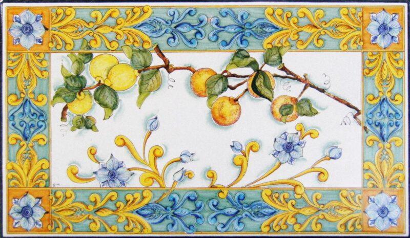 Tavolo in pietra lavica rettangolare con decoro Barocco Siciliano dipinto a mano